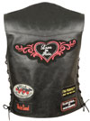 LV4900 Ladies Leather Vest with Sewn Biker Patches and Adjustable Side Laces Back View
