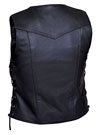 LV7475 Ladies 10 Pocket Leather Motorcycle Vest with Adjustable Side Laces Back View
