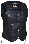 LV7475 Ladies 10 Pocket Leather Motorcycle Vest with Adjustable Side Laces close Closer View
