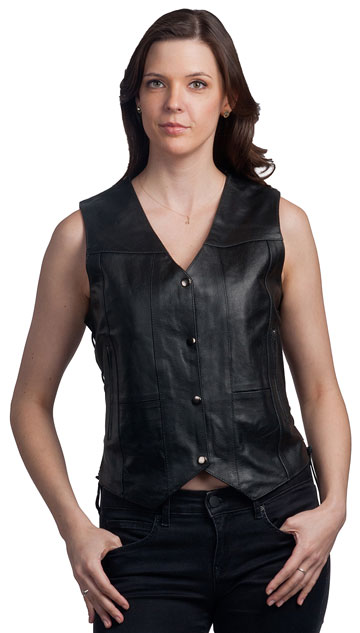 LV4900 Ladies Leather Vest with Sewn Biker Patches and Adjustable Side Laces Large View