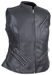 LV8508 Ladies Leather Zipper Vest with Short Collar and Zipper Pockets