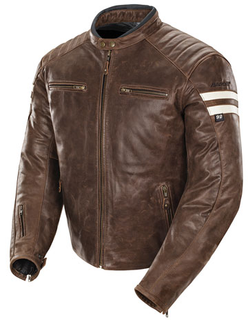 C92 Classic Mens Brown Leather Scooter Jacket with Racing Stripes
