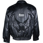 USA3 Mens Leather Waist Jacket with Black Eagle and Flag Logo