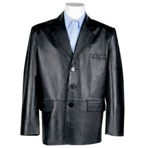 A24018 Mens Lightweight Leather Blazer with Handkerchief Chest Pocket