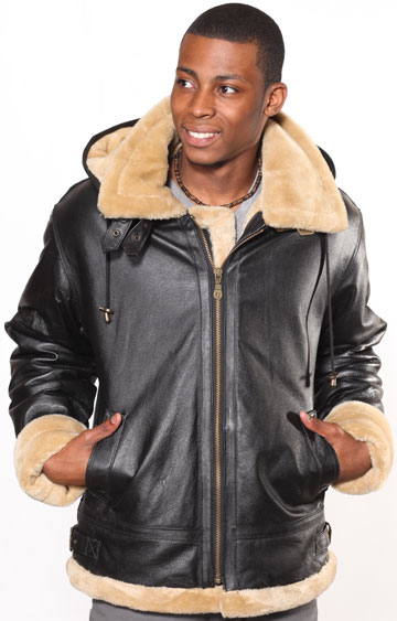 A3109 Black Mens Leather Coat with Beige Fur and Removable Zipper Hood