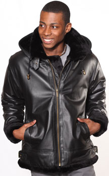 A3109 Black Mens Leather Coat with Black Fur and Removable Zipper Hood