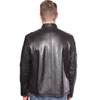 Click for B1115 Mens Contemporary Cafe Racer Lambskin Leather Jacket Back View