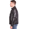 Click for B1115 Mens Contemporary Cafe Racer Lambskin Leather Jacket Side View