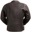 B2806 Mens Wine Lambskin Ribbed Accents Waist Jacket with Asymmetrical Front Zipper Back View