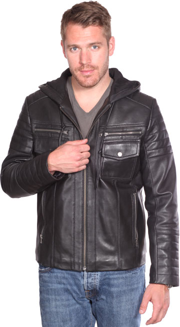 B7137 Men's Quilted Pattern Lambskin Leather Edgy Jacket with Hood