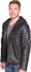 B7137 Men's Quilted Pattern Lambskin Leather Edgy Jacket with Hood Back View