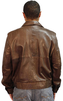 Kobe Mens Lambskin Leather Waist Jacket Made in the USA Back View 1