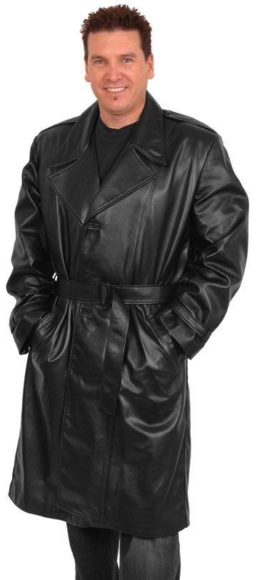 T3 Men's Lambskin Leather Long Trench Coat with Button and Belt