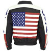 USA 1 Leather Waist Jacket with USA Flag and lettering on Sleeves Back View