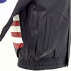 USA 1 Leather Waist Jacket with USA Flag and lettering on Sleeves Pocket Side View