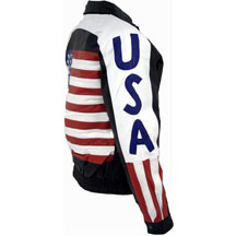 USA 1 Leather Waist Jacket with USA Flag and lettering on Sleeves