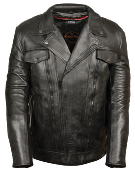 C1720 Mens Tall Size Motorcycle Utility Pockets Leather Jacket