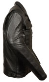 C1720 Mens Tall Size Motorcycle Scooter Leather Jacket Side View
