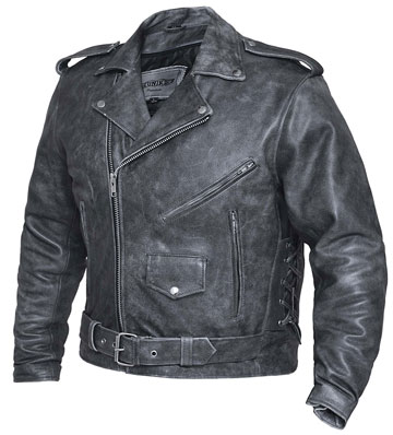 C12GN Classic Tombstone Distress Grey Leather Biker Jacket with Crossover Collar