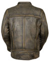 C1550 Distressed Brown Biker Leather Jacket with Triple Stitch Detailing Back View
