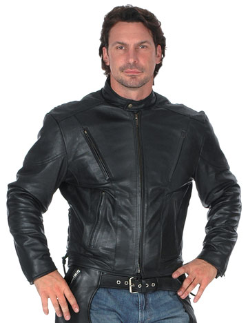 C206 Mens Leather Racing Scooter Jacket with Adjustable Side Laces and Vents