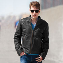 C2110 Mens Light Weight Leather Motorcycle Jacket