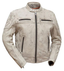 C5002 Classic Biker Leather Jacket with Half Belt