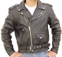 C128 Classic Leather Biker Jacket with Half Belt