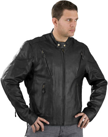 C5410 Mens Vented Scooter Leather Motorcycle Jacket with Vents