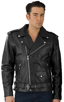 C5411 Classic Biker Leather Jacket with Half Belt