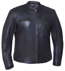 C576 Mens Leather Sporty Jacket with Chest Zipper Pockets and Vents