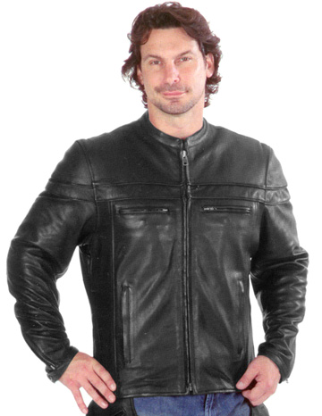C6037 Men's Vented Motorcycle Leather Jacket