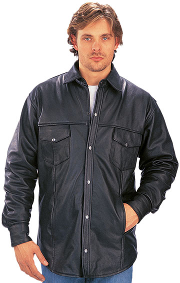 C852 Mens Leather Shirt with Snaps and Adjustable Cuffs
