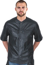 C868 Perforated Leather Baseball Shirt