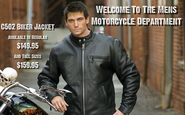 Mens USA Made and Imported Leather Motorcycle Jackets Department