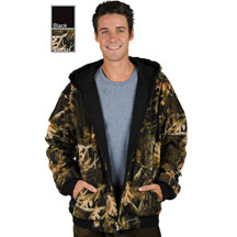 M1077 Reversible Poly Fleece Black and Camouflage Hoodie Click for Large View