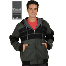 M1077 Reversible Poly Fleece Charcoal and Grey and Stripes Hoodie Click for Large View