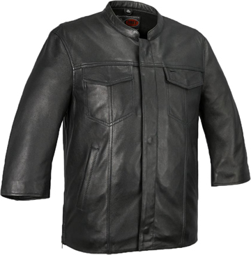 B419 Lambskin Club Shirt with Zipper and Short Wide Sleeves Large View