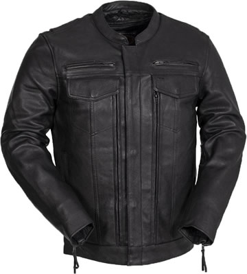 C263 Leather Motorcycle Club Jacket with Hidden Pockets Panel Larger View