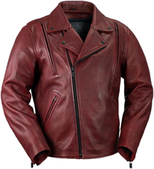 C269 Blood Red Leather Classic Motorcycle Jacket with Vents