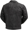 C2804 Naked Buffalo Distress Black Leather Jacket with Shirt Collar Back View