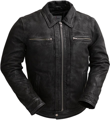 C2804 Naked Buffalo Distress Black Leather Jacket with Shirt Collar Larger View