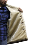 S23600 Mens Brown Suede Leather Coat with Beige Faux Fur and Buttons Inside View