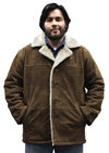 S23600 Mens Brown Suede Leather Coat with Beige Faux Fur and Buttons Front View