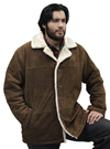 S23600 Mens Brown Suede Leather Coat with Beige Faux Fur and Buttons Front View 2
