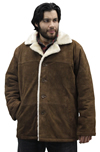 S23600 Mens Brown Suede Coat with Beige Fur