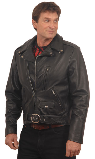 Davis USA Made Classic Motorcycle Leather Jacket with Crossover Collar