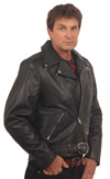 Davis USA Made Classic Motorcycle Leather Jacket Profile View