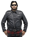 Deadman Mens Motorcycle Leather Jacket Zip Up Collar View