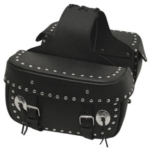 LEATHER SADDLE BAG WITH STUDS & CONCHO